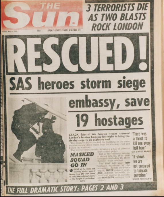 The Sun reporting on the siege in 1980 Credit: NEWS GROUP NEWSPAPERS LTD