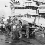 THE FALKLANDS CONFLICT, APRIL - JUNE 1982 (FKD 681) A Hawker Siddeley Harrier GR.3 of No 1 Squadron RAF is prepared for a sortie on board HMS HERMES. Attached to the outboard pylon on each wing is a Paveway II laser guided bomb. Copyright: © IWM. Original Source: http://www.iwm.org.uk/collections/item/object/205190493
