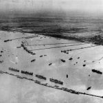 Aerial view of the prefabricated port or 'Mulberry B' at Arromanches, 1944 © NAM [Image number: 79127]