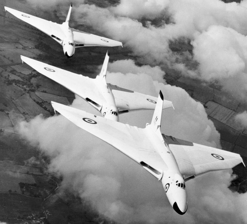 Vulcan bombers from RAF Waddington flying in formation in 1957. Source: RAF, MOD