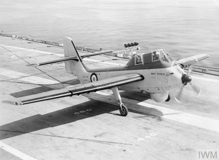 THE ROYAL NAVY DURING THE COLD WAR, 1945-1991 (A 33305) The first landing of a Short Seamew light-weight, anti-submarine aircraft on the aircraft carrier HMS BULWARK during deck landing trials. Copyright: © IWM. Original Source: http://www.iwm.org.uk/collections/item/object/205187811