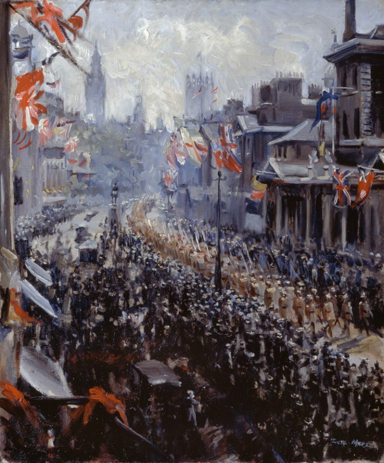 'Peace Celebrations Indian Troops Marching Down Whitehall', 1919. Although the First World War officially ended on 11 November 1918, the Treaty of Versailles was not signed until June 1919. In Britain, the conclusion of hostilities was celebrated on Saturday 19 July, with a Victory Parade in London as the main event. © NAM. 1951-03-15-1