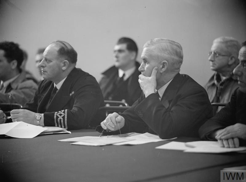 The Convoy Conference. Captains of Merchant Ships, who keep open Britain's life-lines across the Atlantic. Copyright: © IWM.