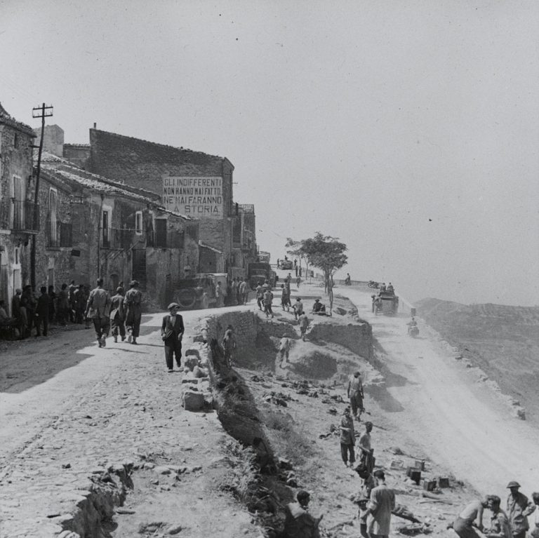 On This Day: 2nd August 1943 Troops and vehicles entering Centuripe on Sicily.