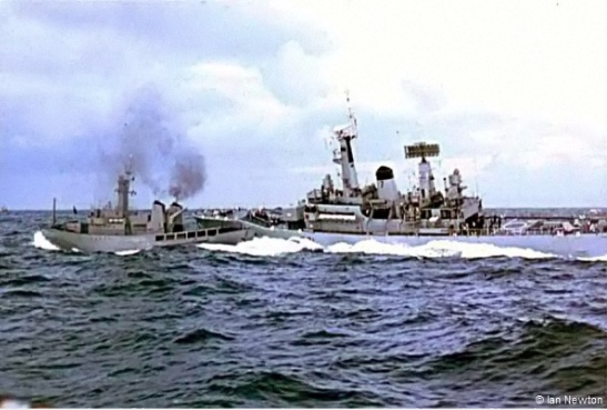 On This Day: 21st September 1958 Britain and Iceland have called a temporary halt to the first Cod War because a British Marine was taken sick with acute appendicitis, and the British skipper of the Frigate Diana asked the Icelandic coast guard ship Aeger for permission to sail into the Icelandic port where a hospital was located inside the Icelandic 12 mile zone, The Icelandic Government gave permission and the Marine is now in hospital in Iceland receiving treatment. The Royal Navy's 2,500 ton Leander-class frigate HMS Scylla collides with the Icelandic vessel ICGV Odinn in the third and final Cod War.