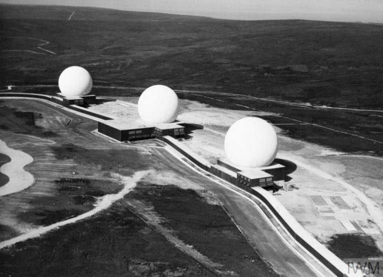 AERIAL VIEW OF RAF FYLINGDALES EARLY WARNING RADAR STATION, 16 SEPTEMBER 1963 (HU 69120) RAF FYLINGDALES, a joint Anglo-American project, photographed the day before it became operational. Its three steel buildings housing radar under domes were intended to track incoming Soviet ballistic missiles during the Cold War. Its systems offered a warning of 15 minutes for missiles targeted on the United States and 4 minutes for those targeted on Britain. The latter margin was deemed sufficie... Copyright: © IWM. Original Source: http://www.iwm.org.uk/collections/item/object/205018749