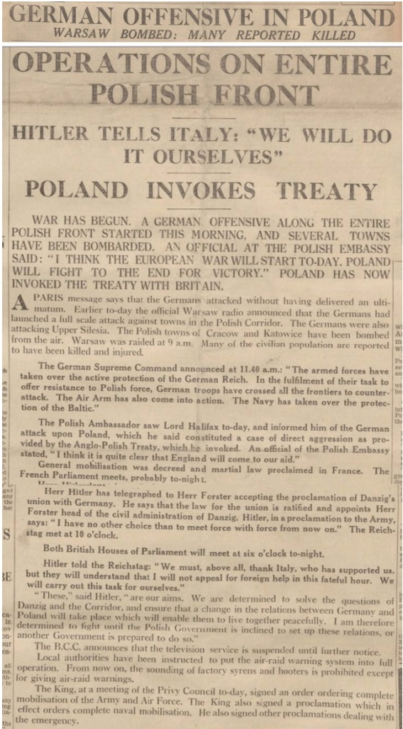 On This Day: 1st September 1939 German forces attack Poland across all frontiers and its planes bomb Polish cities, including Warsaw. Just before dawn, German tanks, infantry and cavalry penetrated Polish territory on several fronts with five armies, a total of 1.5 million troops. The attack came without any warning or declaration of war. Britain and France were forced to declare war after Germany ignored their separate ultimatums demanding the withdrawal of German troops from Poland. Britain then declared war on Germany on 3rd September 1939.