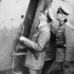 THE GERMAN-SOVIET INVASION OF POLAND, 1939 (MH 13369) Hitler examines destroyed Polish Armoured Train No. 13 'General Sosnkowski' at the town of Lochów, with General Wilhelm Keitel, the Chief of Staff of the OKW (Oberkommando der Wehrmacht), 25 September 1939. The armoured train was seriously damaged by the Luftwaffe on 10 September while covering the retreat of the 'Modlin' Army. Copyright: © IWM. Original Source: http://www.iwm.org.uk/collections/item/object/205194751