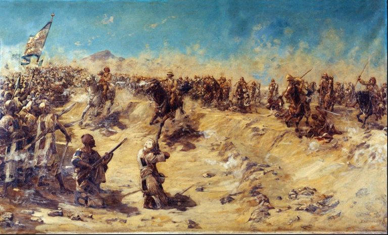 On This Day: 2nd September 1898 Charge of the 21st Lancers at Omdurman, 2 September 1898 Oil on canvas by Edward Matthew Hale (1852-1924), 1899. © NAM. 1957-04-4-1