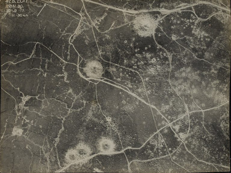 On This Day: 30th September 1917 Aerial photograph of a section of the Western Front, 30 September 1917  Aircraft such as the BE2 and RE8 were used by the British to photograph the shattered landscapes of the Western Front. Aerial photography was used to identify artillery and bombing targets such as transport hubs and artillery positions and to gather intelligence on fortifications and troop concentrations and movements prior to attacks. NAM. 1996-01-74-10 © NAM