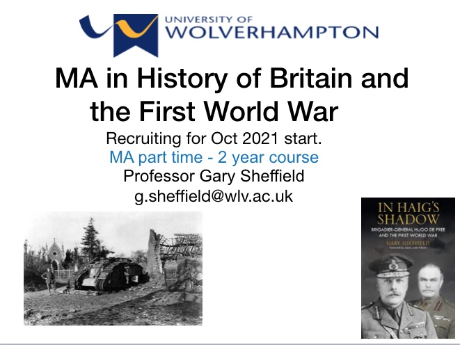MA in History of Britain and WW1 – University of Wolverhampton – Recruiting Now