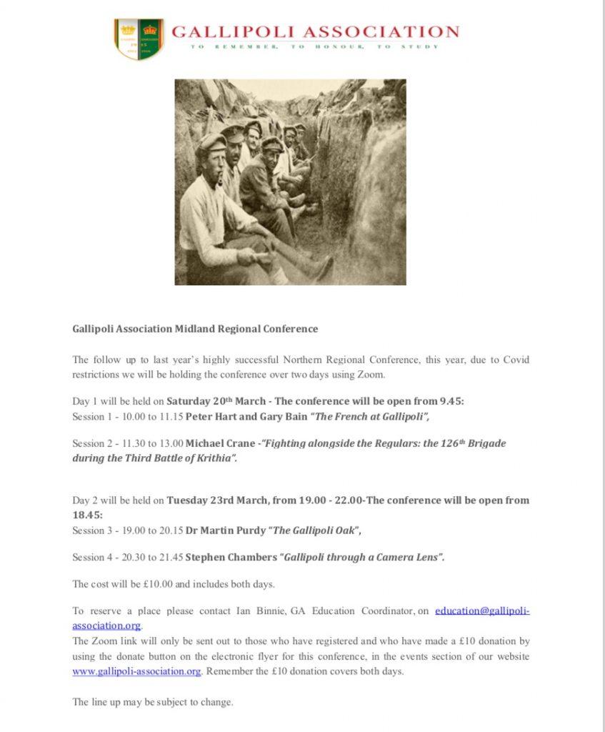 Gallipoli Association March 2021 Conference Agenda