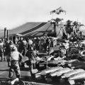 The Falklands Conflict. Flight deck operations on board HMS HERMES.
