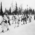THE WAR IN FINLAND, 1940 (HU 52936) Finnish ski-runner patrols operating against Russian lines: Sergeant Pekka Niemi, world champion ski-runner, leading his patrol out on a raid. Copyright: © IWM. Original Source: http://www.iwm.org.uk/collections/item/object/205083374